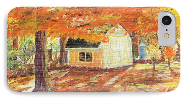 IPhone Case featuring the painting Playhouse In Autumn by Carol L Miller