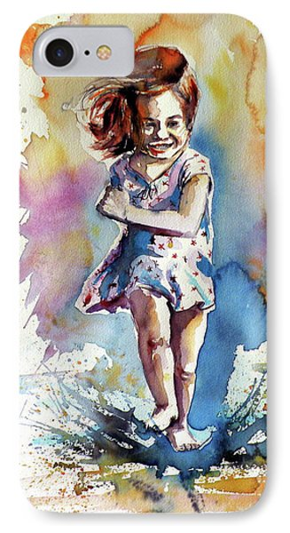 IPhone Case featuring the painting Playing Girl by Kovacs Anna Brigitta