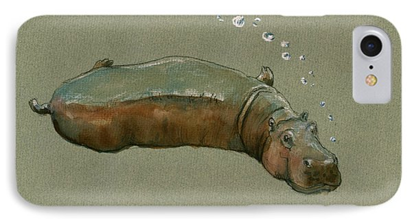 Playing Hippo IPhone Case by Juan  Bosco