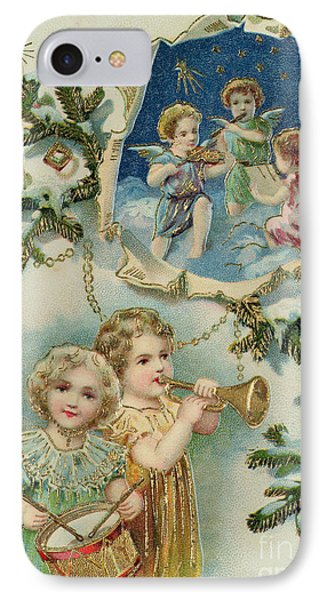 Playing Musical Instruments, Victorian Christmas Card IPhone Case by English School