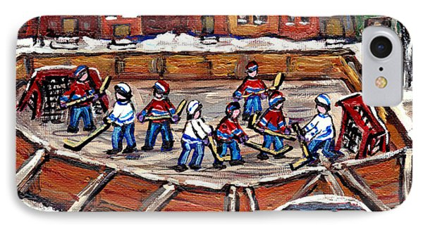 Playoff Time At The Local Hockey Rink Montreal Winter Scenes Paintings Best Canadian Art C Spandau IPhone Case by Carole Spandau