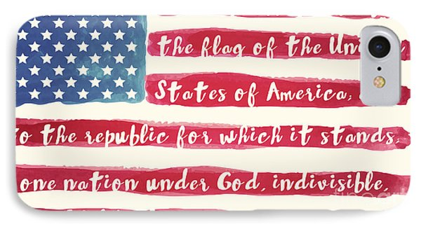 Pledge Of Allegiance American Flag IPhone Case by Mindy Sommers