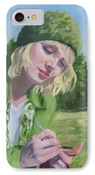 Plein Air Crocheting IPhone Case by Connie Schaertl