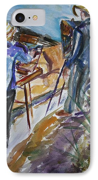 Plein Air Painters - Original Watercolor IPhone Case by Quin Sweetman