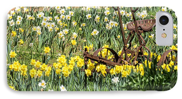 Plow In Field Of Daffodils IPhone Case