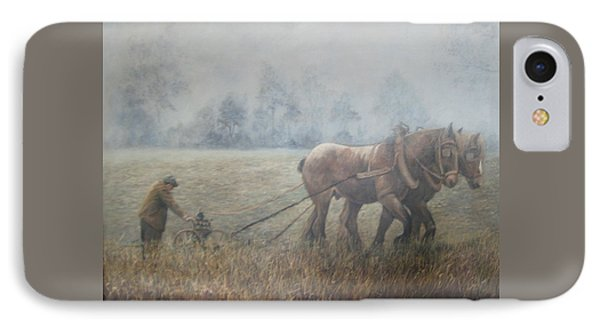 Plowing It The Old Way Phone Case by Donna Tucker