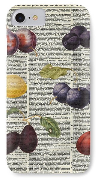 Plums Vintage Illustration Over A Old Dictionary Page IPhone Case by Jacob Kuch