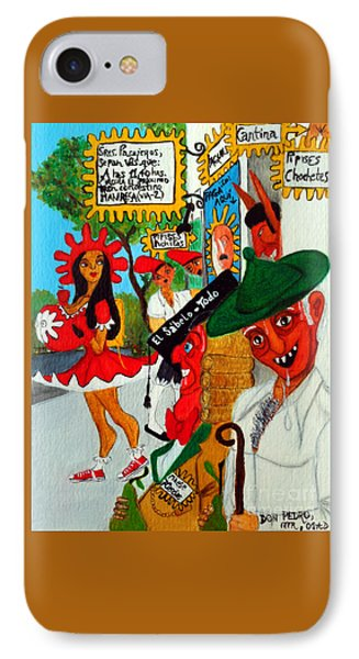 IPhone Case featuring the painting Pneumatic Girl At The Railroad Station by Don Pedro De Gracia