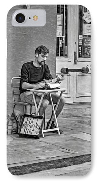 Poet For Hire 2 - Bw IPhone Case by Steve Harrington