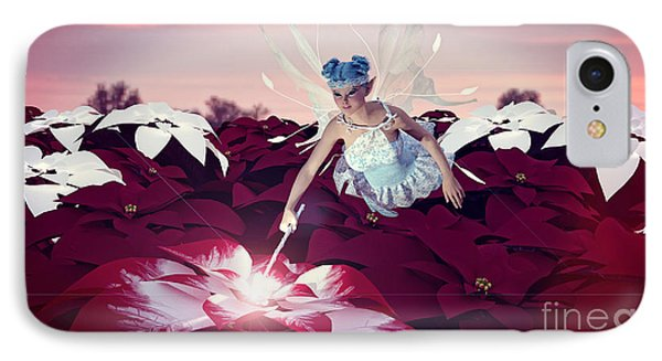 Poinsettia Snow Fairy IPhone Case by Methune Hively