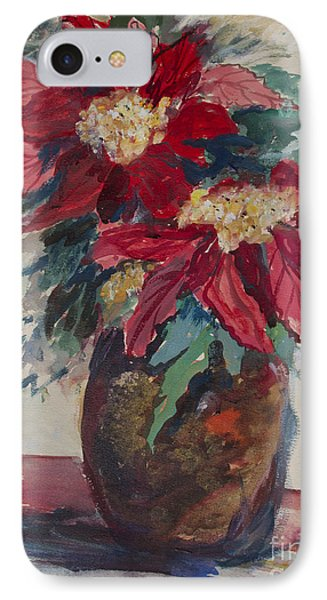 Poinsettias In A Brown Vase IPhone Case by Avonelle Kelsey