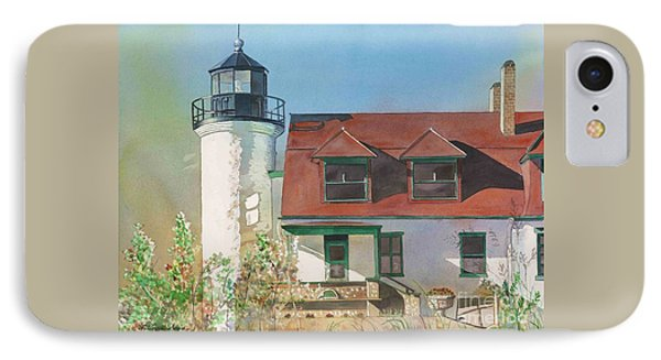 IPhone Case featuring the painting Point Betsie Lighthouse by LeAnne Sowa