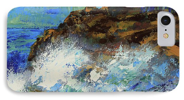 IPhone Case featuring the painting Point Lobos Crashing Waves by Walter Fahmy
