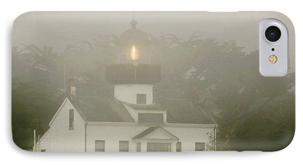 Point Pinos Lighthouse In A Foggy Night - Pacific Grove Monterey Central Ca IPhone Case by Christine Till