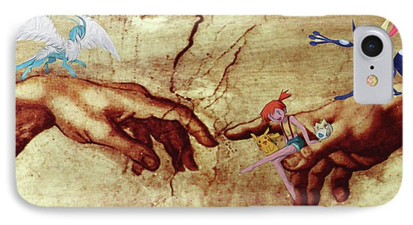 IPhone Case featuring the digital art Pokeangelo Sistine Chapel by Greg Sharpe