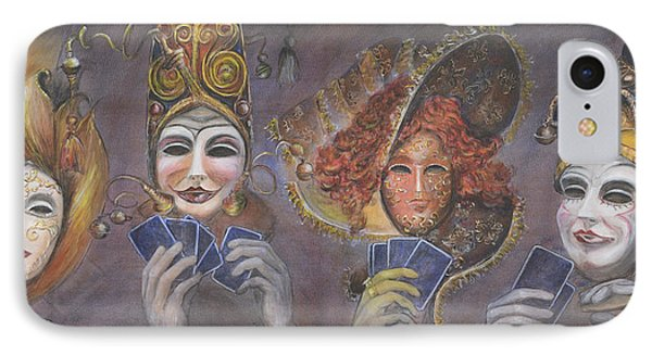 IPhone Case featuring the painting Poker Game Faces by Nik Helbig