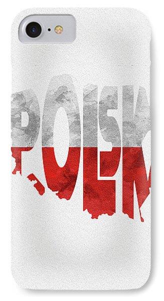 Poland Typographic Map Flag IPhone Case