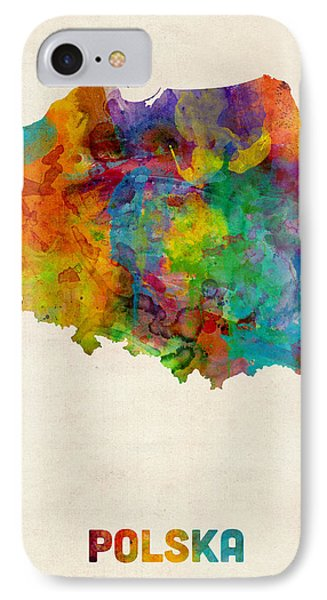 Poland Watercolor Map IPhone Case by Michael Tompsett