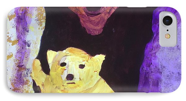 IPhone Case featuring the painting Cave Bear With Cub by Donald J Ryker III