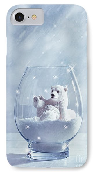 Polar Bear In Snow Globe IPhone Case by Amanda Elwell