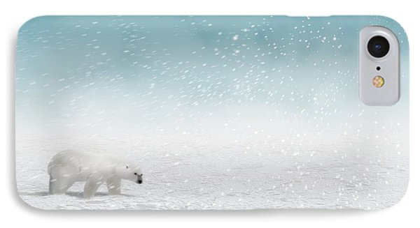 Polar Bear In Snow IPhone Case by John Wills