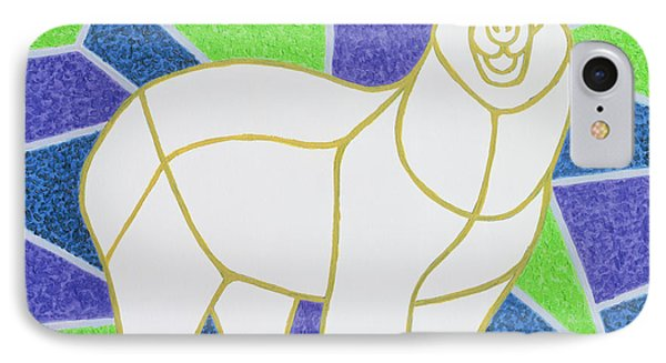 Polar Bear On Stained Glass IPhone Case by Pat Scott