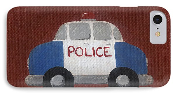 Police Car Nursery Art Phone Case by Katie Carlsruh