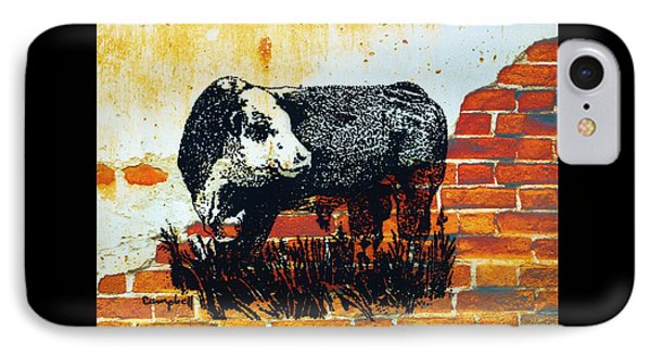 IPhone Case featuring the drawing Polled Hereford Bull  by Larry Campbell