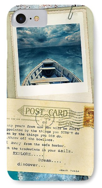 Poloroid Of Boat With Inspirational Quote IPhone Case