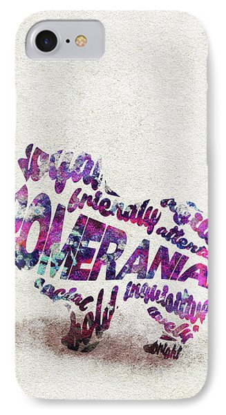 IPhone Case featuring the painting Pomeranian Dog Watercolor Painting / Typographic Art by Ayse and Deniz