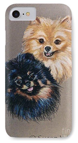 Pomeranian Pair Phone Case by Susan Herber