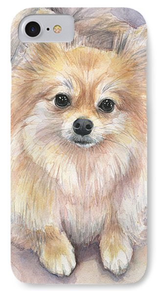 Pomeranian Watercolor IPhone Case by Olga Shvartsur
