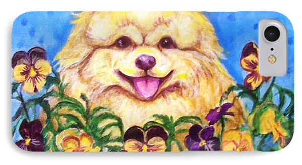 IPhone Case featuring the painting Pomeranian With Pansies by Laura Aceto