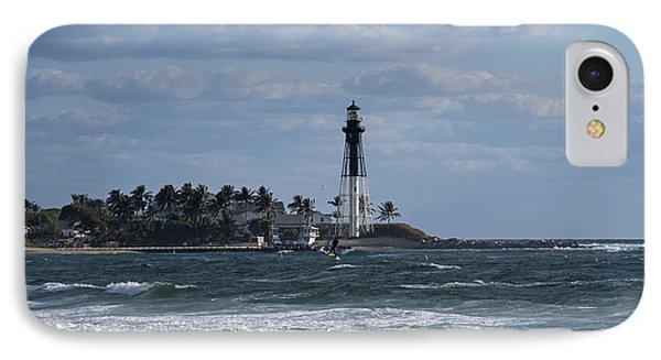 Pompano Beach Kiteboarder Hillsboro Lighthouse Catching Major Air 2 IPhone Case
