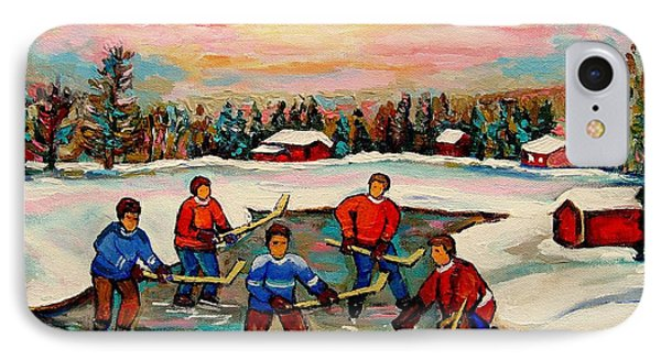 Pond Hockey Countryscene IPhone Case by Carole Spandau