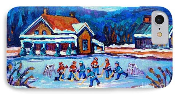 Pond Hockey Painting Canadian Art Original Winter Country Landscape Scene Carole Spandau    IPhone Case by Carole Spandau