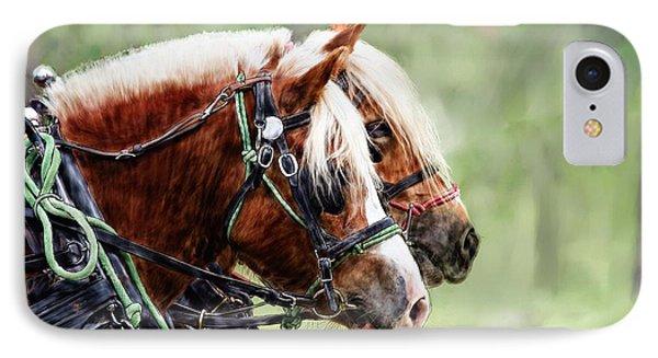 Ponies In Harness IPhone Case by Debra Baldwin