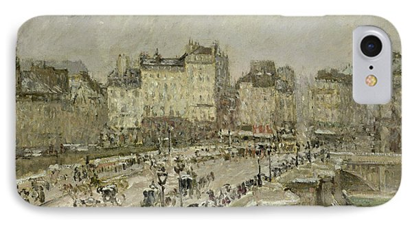 Pont Neuf Snow Effect Phone Case by Camille Pissarro