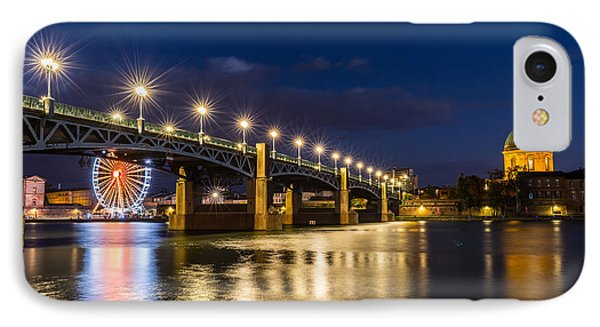 IPhone Case featuring the photograph Pont Saint-pierre With Street Lanterns At Night by Semmick Photo