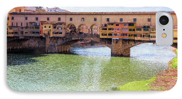 IPhone Case featuring the photograph Ponte Vecchio Florence Italy II Painterly by Joan Carroll
