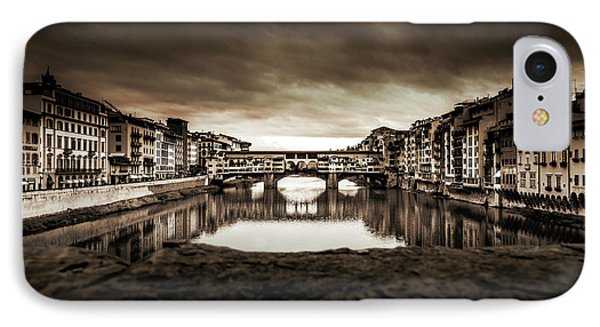 Ponte Vecchio In Sepia IPhone Case by Sonny Marcyan