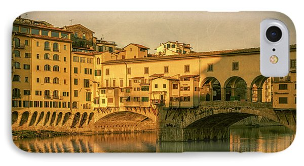IPhone Case featuring the photograph Ponte Vecchio Morning Florence Italy by Joan Carroll