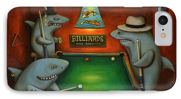 Pool Sharks With Lettering IPhone Case by Leah Saulnier The Painting Maniac