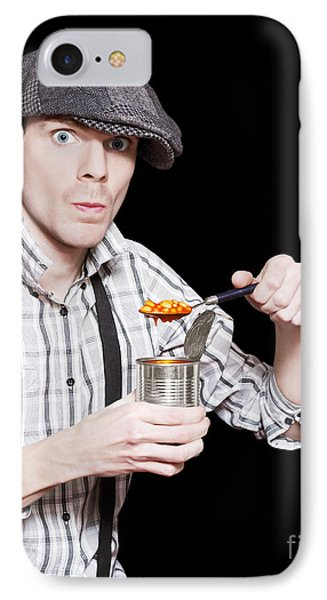 Poor Peasant Boy Eating Food From Can Over Black IPhone Case by Jorgo Photography - Wall Art Gallery