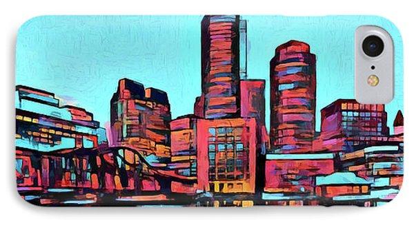 Pop Art Boston Skyline IPhone Case by Dan Sproul