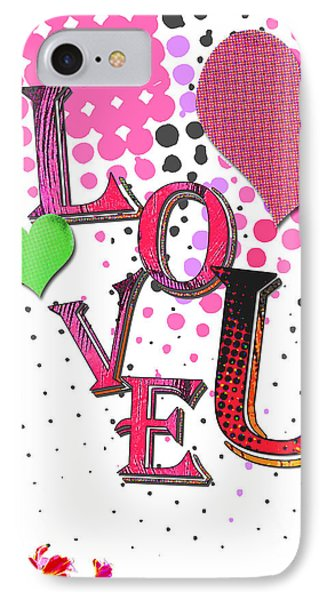 Pop Art Love You Word Art IPhone Case by WALL ART and HOME DECOR