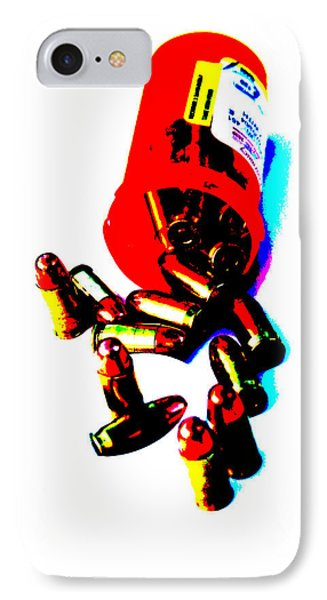 Pop Art Of .45 Cal Bullets Comming Out Of Pill Bottle Phone Case by Michael Ledray