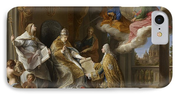 Pope Benedict Xiv Presenting The Encyclical Ex Omnibus To The Comte De Stainville IPhone Case by Pompeo Girolamo Batoni