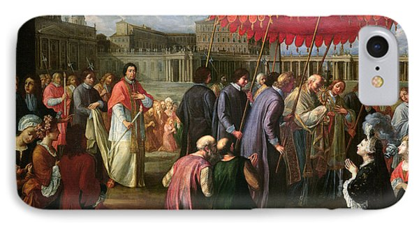 Pope Clement Xi In A Procession In St. Peter's Square In Rome Phone Case by Pier Leone Ghezzi