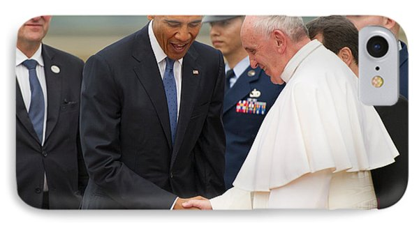 Pope Francis And President Obama IPhone Case by Mountain Dreams